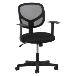 OFM Essentials Swivel Mesh Mid-Back Task Chair, Fixed Arms, Black/Silver