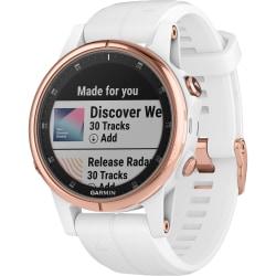 "Garmin fēnix 5S Plus GPS Watch - Wrist - 316 GB - 1.2"" - 240 x 240 - Touchscreen - Bluetooth - Wireless LAN - GPS - 168 Hour - Round - 1.65"" - Rose Gold Case - Carrara White Band - Stainless Steel Bezel, Sapphire"