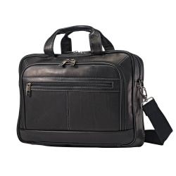 "Samsonite® Leather Portfolio, 12.5"" x 16.13"" x 4.25"", Black"