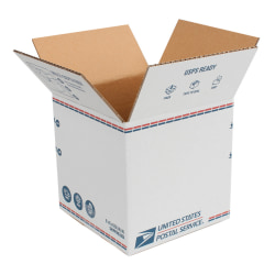 """United States Post Office Shipping Boxes, 8"""" x 8"""" x 8"""", White/Blue/Red, Pack Of 20 Boxes"""