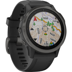 "Garmin fēnix 6S Sapphire GPS Watch - Wrist - 32 GB - 1.2"" - 240 x 240 - Touchscreen - Bluetooth - Wireless LAN - GPS - 480 Hour - Round - 1.65"" - Carbon Gray Case - Black Band - Diamond-like Carbon (DLC) - Sapphire"