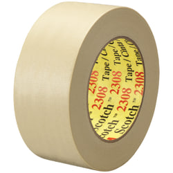 """3M™ 2308 Masking Tape, 3"""" Core, 2"""" x 180', Natural, Pack Of 24"""