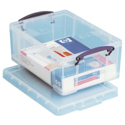 """Really Useful Box® Plastic Storage Container With Built-In Handles And Snap Lid, 9 Liters, 10 1/4"""" x 14 1/2"""" x 6 1/4"""", Clear"""