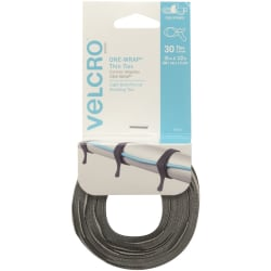 VELCRO® Brand VELCRO Brand Reusable Cable Ties - Cable Tie - Black, Gray - 30 Pack