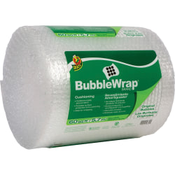 """Duck Brand Brand Protective Bubble Wrap Packaging - 12"""" Width x 60 ft Length - 0.2"""" Bubble Size - Reusable, Lightweight, Water Resistant, Perforated - Nylon - Clear"""