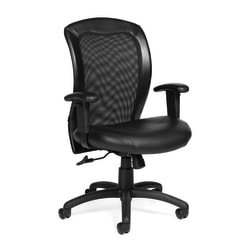 Offices To Go™ Luxhide Bonded Leather Adjustable Mid-Back Chair, Black