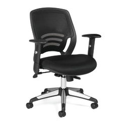 Offices To Go™ Mesh Mid-Back Chair, Black/Aluminum