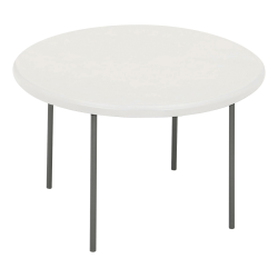 "Iceberg IndestrucTable TOO Folding Table - Round Top - Four Leg Base - 4 Legs - 2"" Table Top Thickness x 78"" Table Top Diameter - Platinum, Powder Coated - High-density Polyethylene (HDPE), Steel"