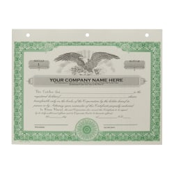 Custom Corporate Stock Certificates, 3-Hole Punched, Green, Pack Of 20 Certificates