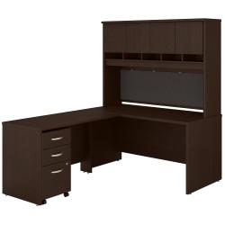 "Bush Business Furniture Components 60""W L-Shaped Desk With Hutch And Mobile File Cabinet, Mocha Cherry, Premium Installation"