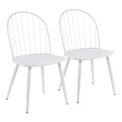 LumiSource Riley High-Back Chairs, White, Set Of 2 Chairs