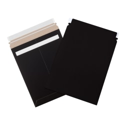"Office Depot® Self-Seal Stayflats Mailers, 9 3/4"" x 12 1/4"", Black, Case Of 100"