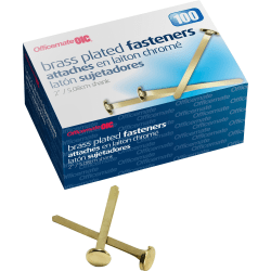 "OIC® Brass-Plated Round Head Paper Fasteners, 2"", Brass, Box Of 100"