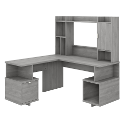 """kathy ireland® Home by Bush Furniture Madison Avenue 60""""W L-Shaped Desk With Hutch, Modern Gray, Standard Delivery"""