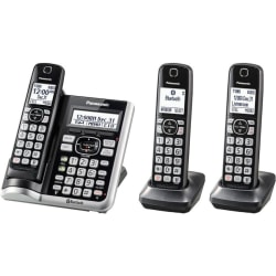 Panasonic® Link2Cell DECT 6.0 Cordless Telephone With Answering Machine And Dual Keypad, 3 Handsets, KX-TGF573S