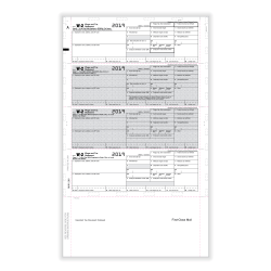 """ComplyRight™ W-2 Tax Forms, With Pressure Seal, Employee Copy B, C And 2, 4-Up Horizontal, 8-1/2"""" x 14"""", Pack Of 500 Forms"""