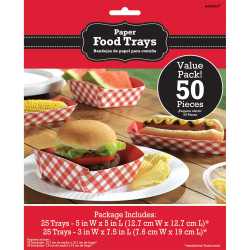 Amscan Summer Picnic Paper Food Trays, Gingham Red, Pack Of 50 Trays