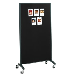 "Quartet® Motion® 2-Sided Bulletin Board/Non-Magnetic Dry-Erase Whiteboard Rolling Room Divider, 36"" x 72"", Aluminum Frame With Black Finish"