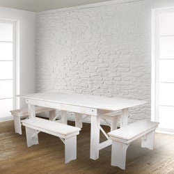 Flash Furniture HERCULES Series Folding Farm Bench, Antique Rustic White