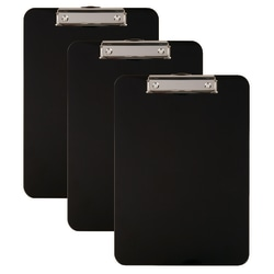 "Office Depot® Brand Acrylic Clipboards, 9"" x 12"", Black, Pack Of 3"