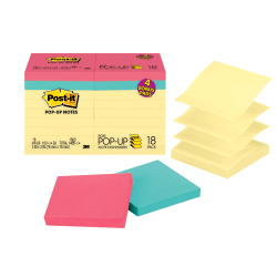 """Post-it® Pop-up Notes, 3"""" x 3"""", Canary Yellow, 100 Sheets Per Pad, Pack Of 18 Pads"""