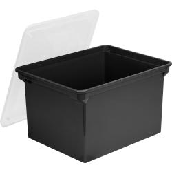 "Storex® Portable Letter/Legal File Tote, 14""H x 12""W x 20""D, Black Base, Clear Lid"