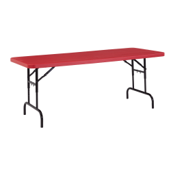 National Public Seating Primary Color Adjustable Folding Table, Rectangle, Red/Black