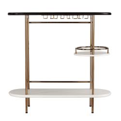 """Southern Enterprises Dagney Bar Table, 38-1/4""""H x 40""""W x 14""""D, Black/White/Champagne"""