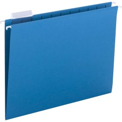 """Smead Hanging File Folders with Tab - Letter - 8 1/2"""" x 11"""" Sheet Size - 1/5 Tab Cut - Top Tab Location - Assorted Position Tab Position - 11 pt. Folder Thickness - Sky Blue - 1.89 oz - Recycled - 25 / Box"""