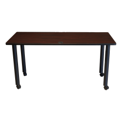 """Boss Office Products 60""""W Training Table With Casters, Mahogany/Black"""
