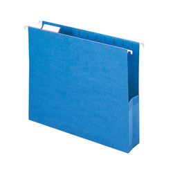 """Smead® Hanging File Pocket With Tab, 2"""" Expansion, 1/5-Cut Adjustable Tab, Letter Size, Sky Blue, Box of 25"""