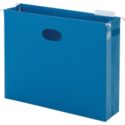 "Smead® Hanging File Pocket With Tab, 3"" Expansion, 1/5-Cut Adjustable Tab, Letter Size, Sky Blue, Box of 25"