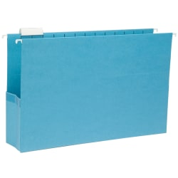 """Smead® Hanging File Pocket With Tab, 3"""" Expansion, 1/5-Cut Adjustable Tab, Legal Size, Sky Blue, Box of 25"""