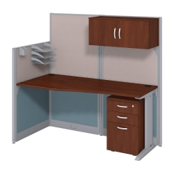 Bush Business Furniture Office In An Hour Straight Workstation with Storage & Accessory Kit,Hansen Cherry Finish, Standard Delivery