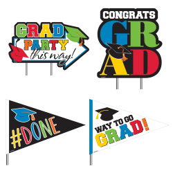 Amscan Congrats Graduation Yard Stakes, Multicolor, Pack Of 4 Stakes