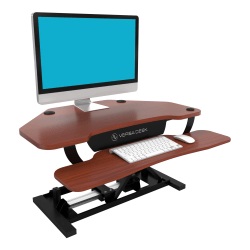 VersaDesk Power Pro Corner Push-Button Electric Height-Adjustable Sit-to-Stand Desk Riser, Cherry