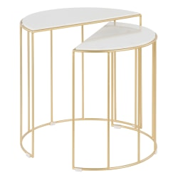"LumiSource Canary Metal Nesting Table, 22-3/4""H x 24-1/2""W x 13""D, White Marble/Gold"