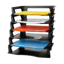 "Rubbermaid® Regeneration Letter Tray, 2 3/4""H x 9""W x 15 1/4""D, Black, Pack Of 6"