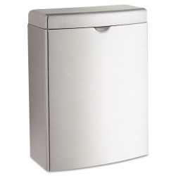 """Bobrick Contura™ Surface-Mount Stainless-Steel Sanitary Napkin Receptacle, 1 Gallon, 10""""H x 7 1/2""""W x 3 13/16""""D, Stainless Steel"""