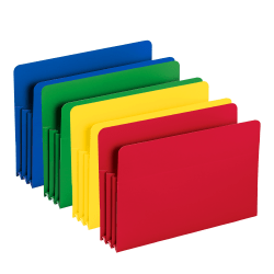 """Smead® Poly Expanding File Pockets, Legal Size, 3 1/2"""" Expansion, Assorted Colors (No Color Choice), Pack Of 4"""