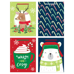 """Amscan Christmas Medium Vertical Gift Bags, 7-3/4""""H x 6""""W x 3""""D, Warm And Cozy, Pack Of 20 Bags"""
