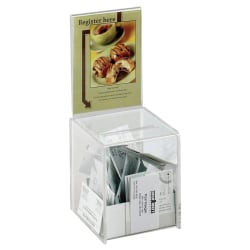 """Safco® Small Acrylic Collection Box, 13""""H x 5 1/2""""W x 5 1/2""""D, Clear"""