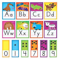 "TREND Awesome Animals Manuscript Alphabet Bulletin Board Set, 6 1/2"" x 8 1/2"", Multicolor, Pre-K - Grade 2"