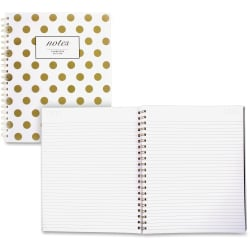 """Cambridge Hardcover Wirebound Notebook - Twin Wirebound - Both Side Ruling Surface - Ruled - 8 7/8"""" x 11"""" - Gold Cover Dotted - Hard Cover, Dual Sided - 1Each"""