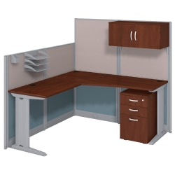 Bush Business Furniture Office In An Hour L Workstation with Storage & Accessory Kit, Hansen Cherry Finish, Standard Delivery