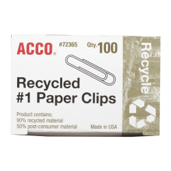 ACCO® Recycled Paper Clips, No. 1, 10-Sheet Capacity, Silver, Box Of 100 Clips