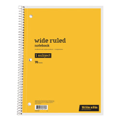 "Just Basics™ Spiral Notebook, 8"" x 10-1/2"", 1 Subject, Wide Ruled, 70 Sheets, Yellow"