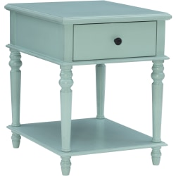 """Powell Heaton Side Table With 1 Drawer And Shelf, 26""""H x 20""""W x 24""""D, Blue"""