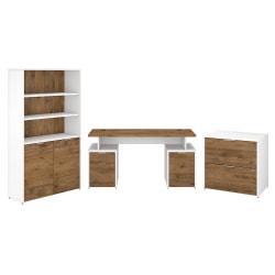 "Bush Business Furniture Jamestown 60""W Desk With Storage, File Cabinets And 5-Shelf Bookcase, Fresh Walnut/White, Standard Delivery"