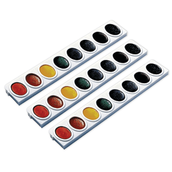Prang® Watercolors Oval Pan Refill Trays, Assorted Colors, 3 Trays Per Pack, Case Of 3 Packs